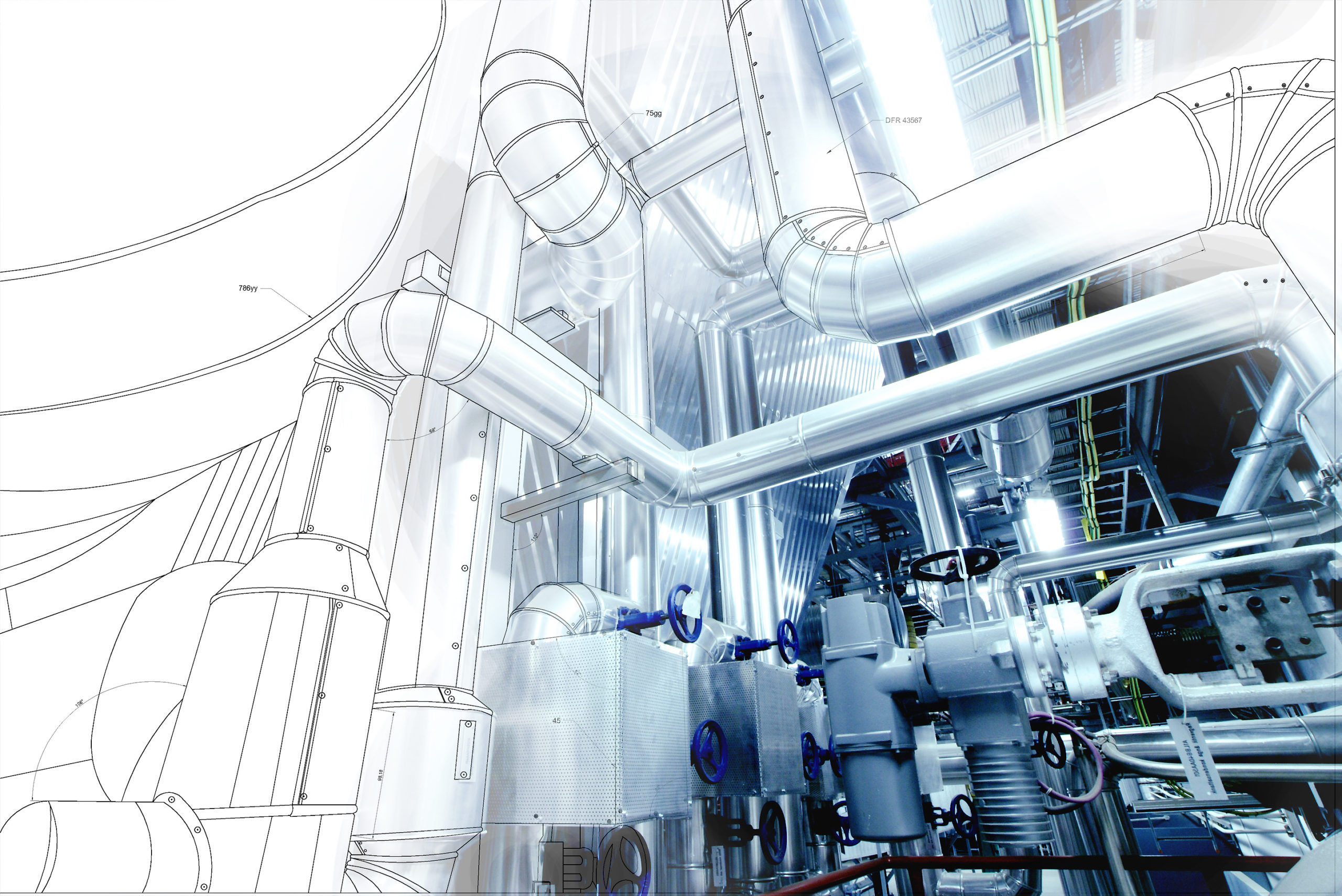 Wireframe,Computer,Cad,Design,Of,Pipelines,For,Modern,Industrial,Power